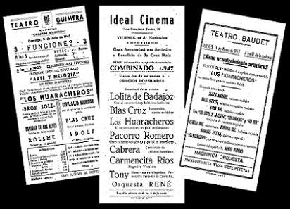 Programas de diferentes actuaciones de Los Huaracheros en Tenerife.