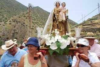 Bajada Lustral de la Virgen del Carmen en Vallehermoso